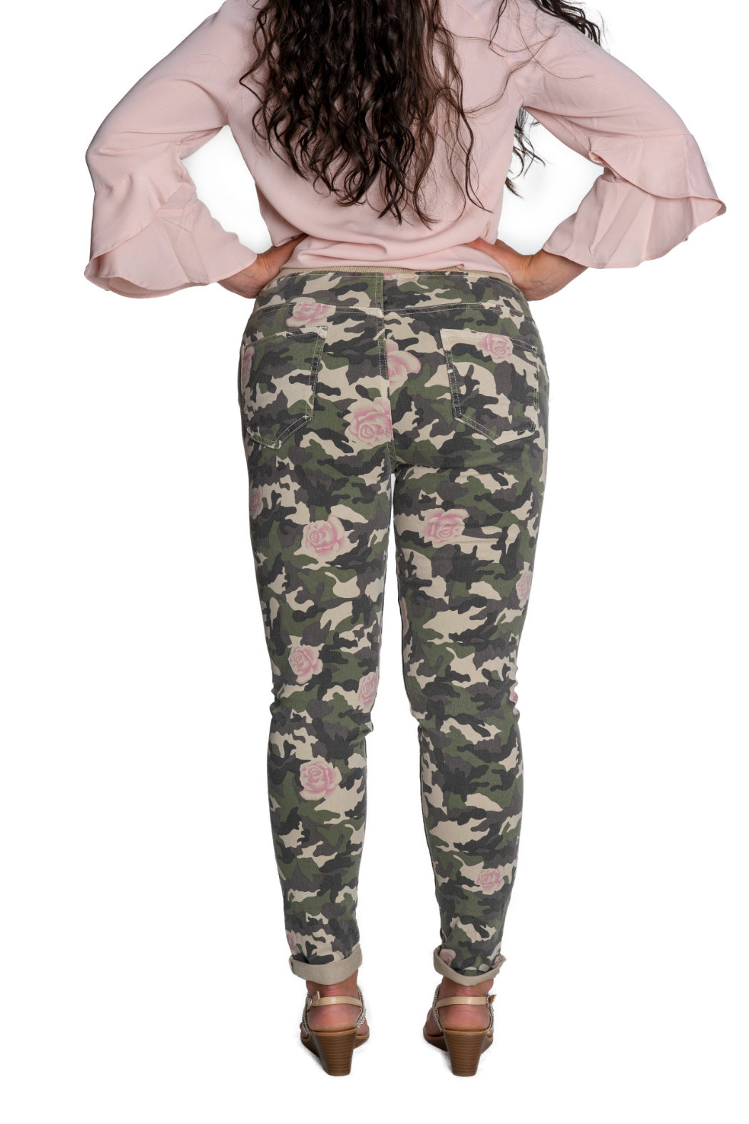 Brand Bazar Drawstring Camo Pant w Roses - Side Cropped Image