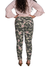 Brand Bazar Drawstring Camo Pant w Roses - Side cropped