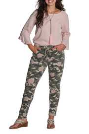 Brand Bazar Drawstring Camo Pant w Roses - Front cropped