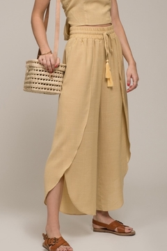 Moon River Drawstring Cropped Wrap Wide Leg Pants - Product List Image
