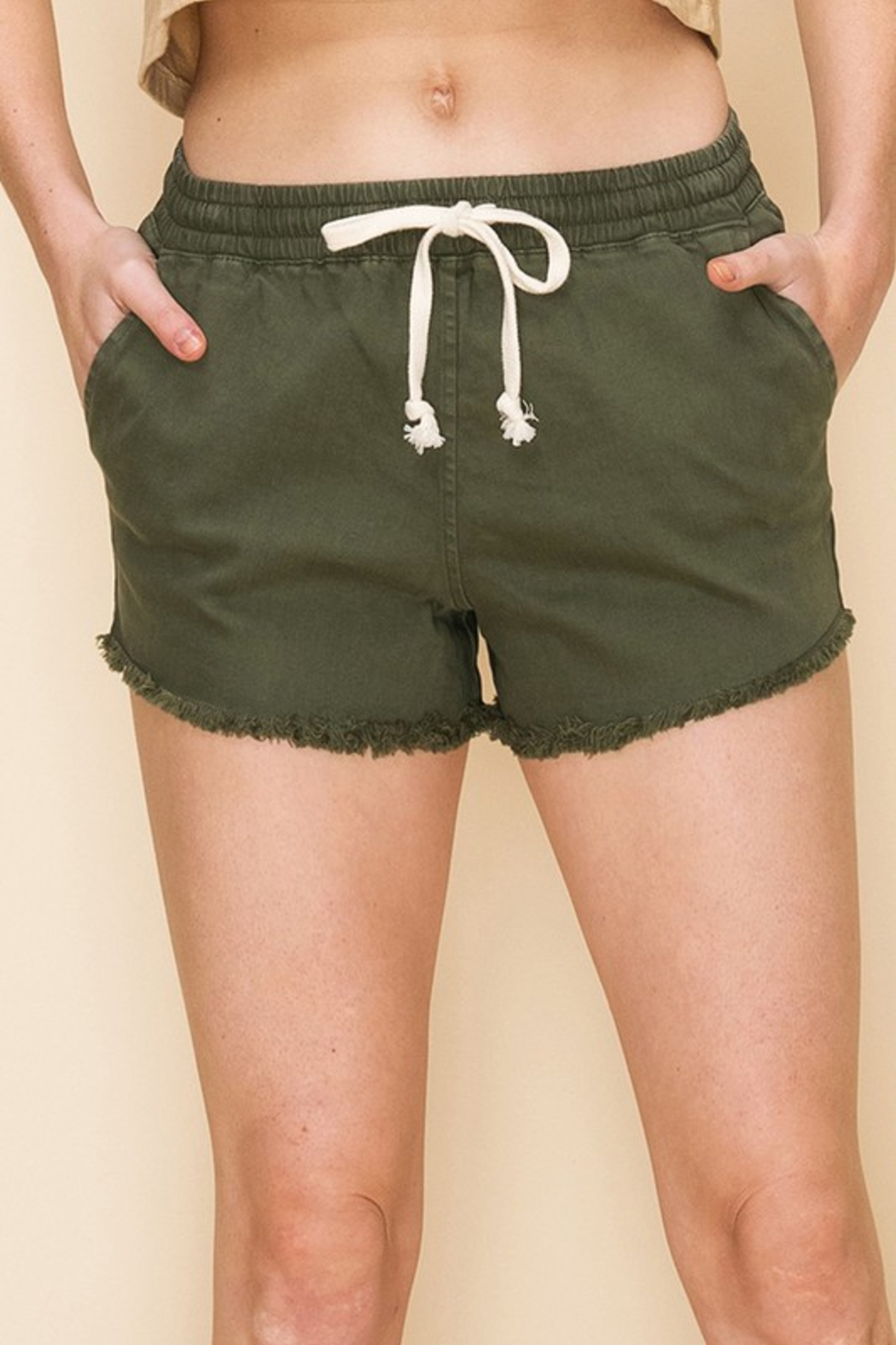 R+D  Drawstring Frayed Chino Short - Main Image