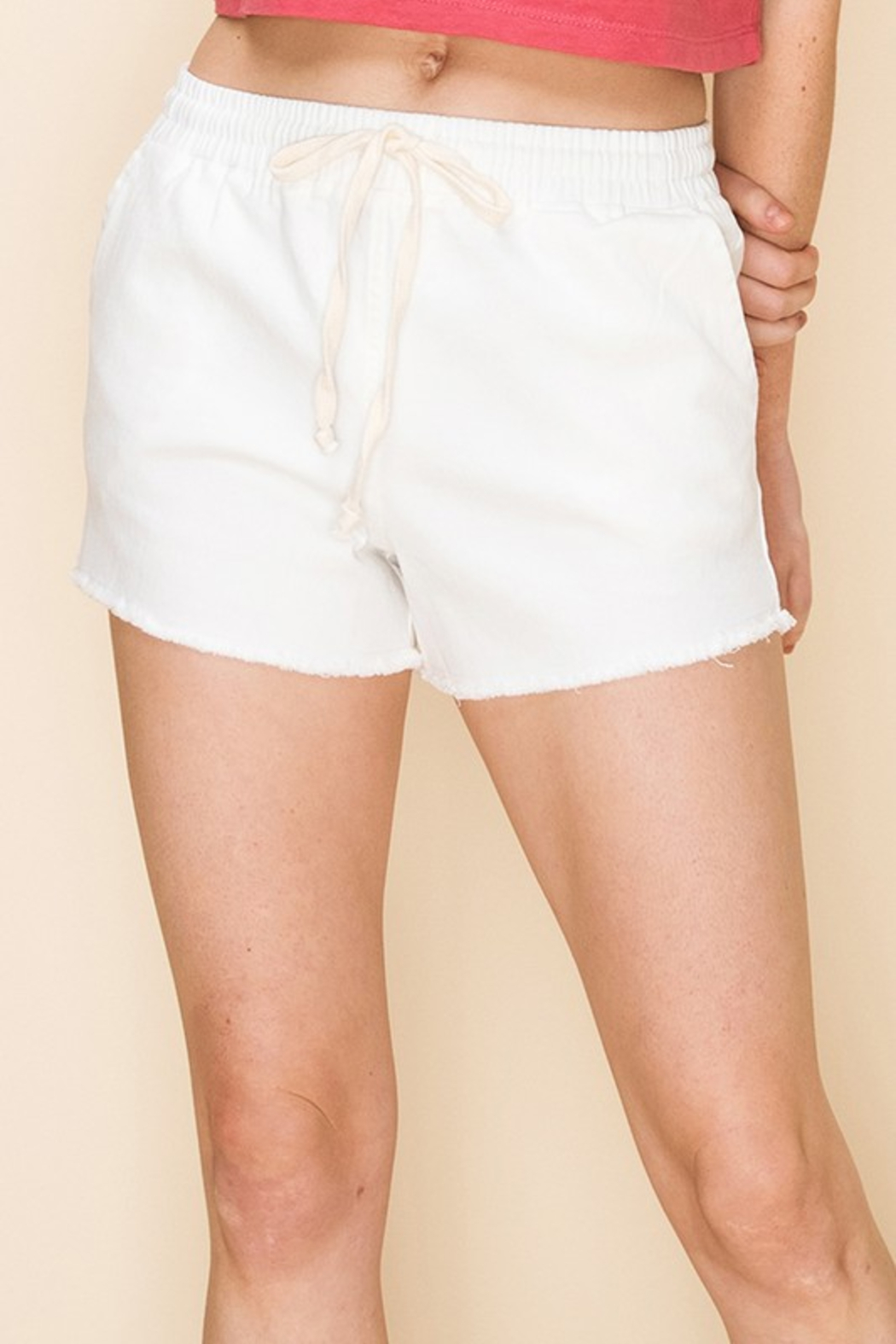 R+D  Drawstring Frayed Chino Short - Front Cropped Image