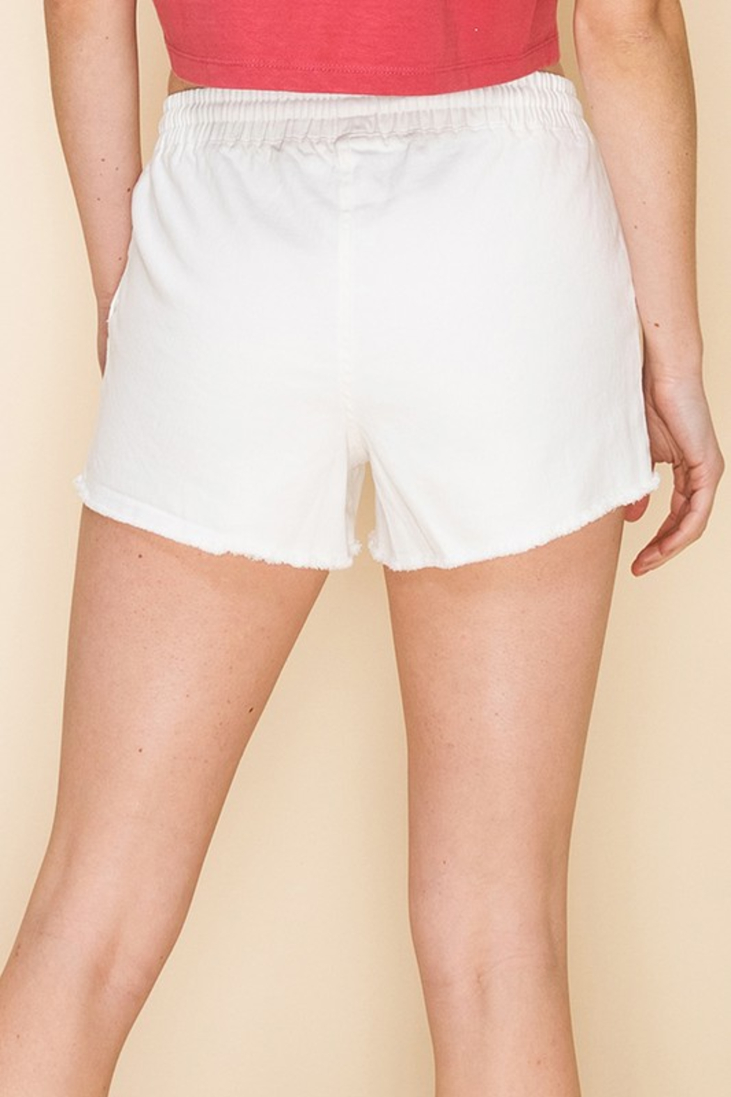R+D  Drawstring Frayed Chino Short - Front Full Image