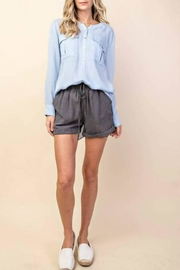 Style U Drawstring Linen Short - Front cropped