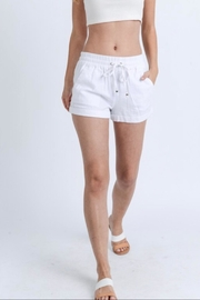 Love Tree Drawstring Linen Shorts - Product Mini Image