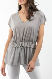 Lola & Sophie Drawstring Peplum V-Neck Top - Product Mini Image