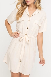 Lush Clothing  Drawstring Shirt Dress - Front cropped