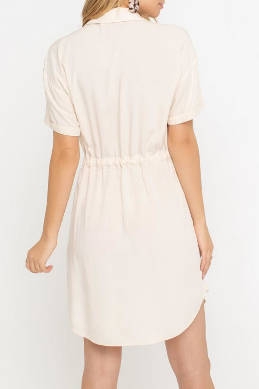 Lush Clothing  Drawstring Shirt Dress - Side Cropped Image