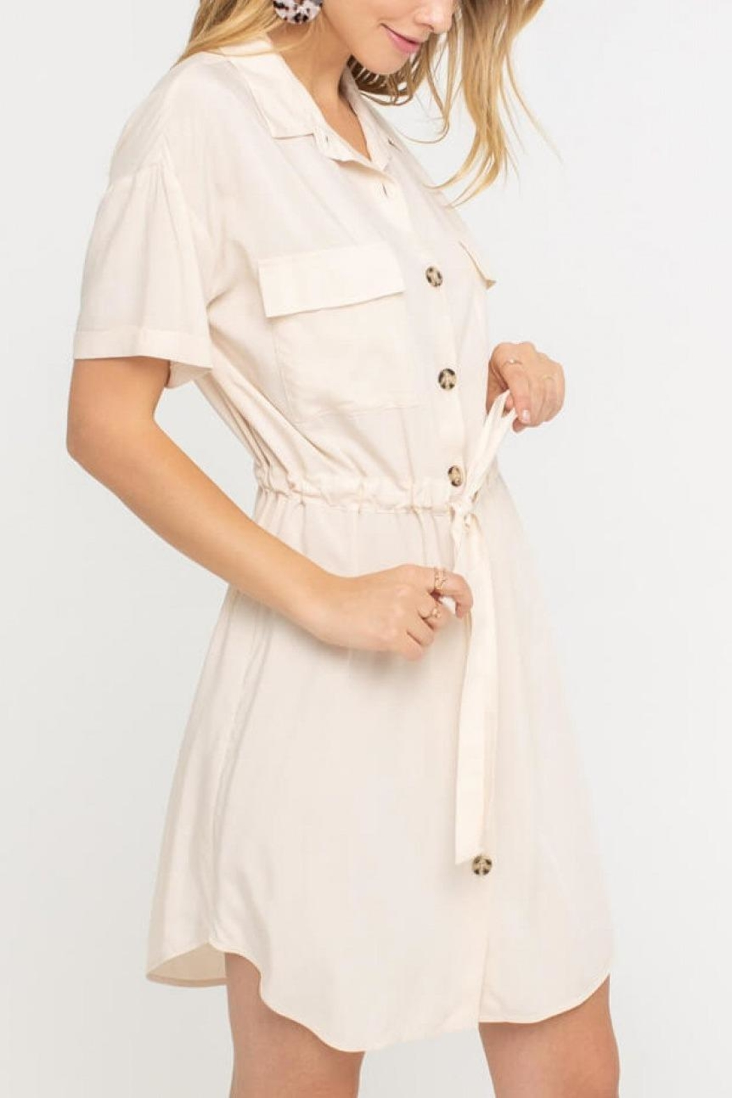 Lush Clothing  Drawstring Shirt Dress - Front Full Image