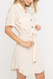 Lush Clothing  Drawstring Shirt Dress - Front full body
