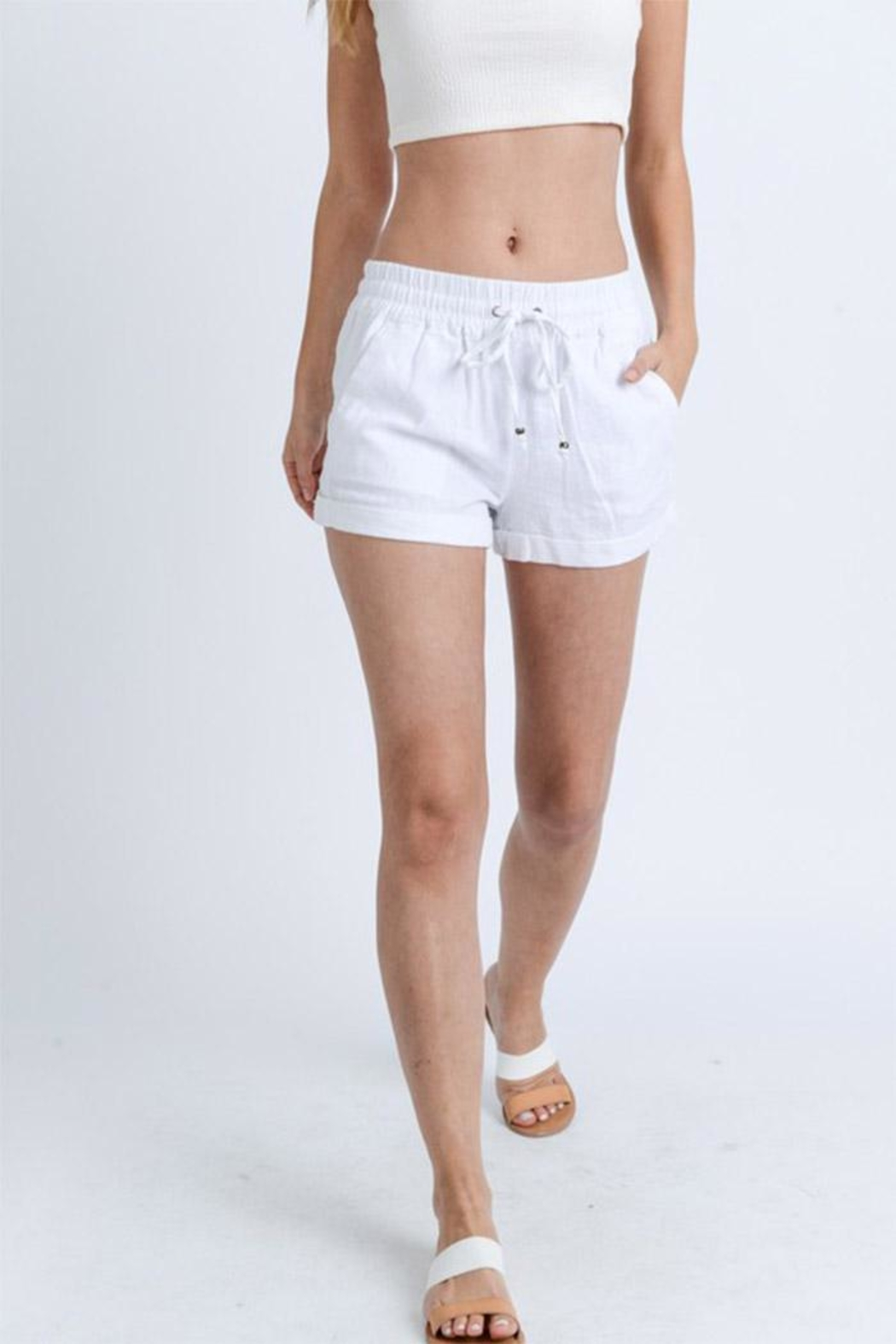 Love Tree Drawstring Shorts - Front Cropped Image
