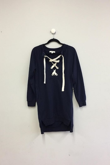 Umgee USA Drawstring Sweatshirt Dress - Main Image