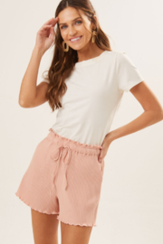 Lush  Drawstring Waist Knit Short - Front cropped