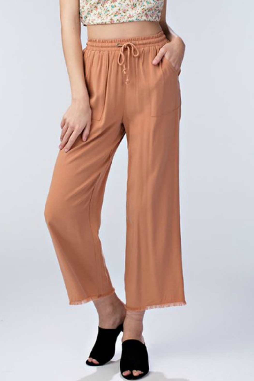 Honey Punch Drawstring Waist Pant - Front Cropped Image