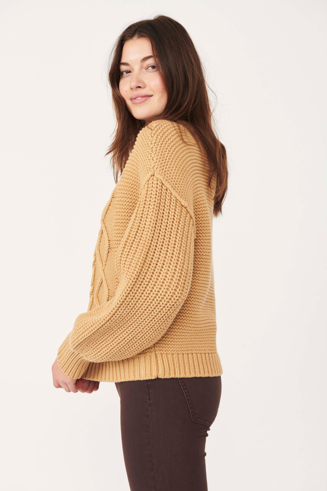 Free People  Dream Cable Crewneck Sweater - Front Full Image