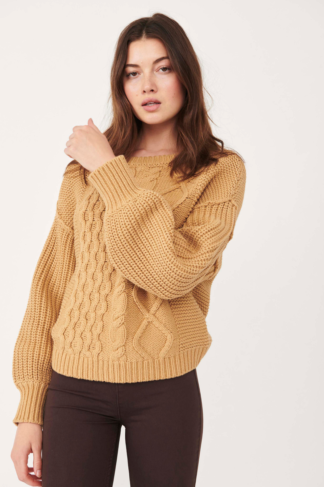 Free People  Dream Cable Crewneck Sweater - Front Cropped Image