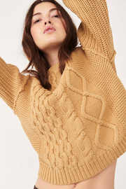 Free People  Dream Cable Crewneck Sweater - Back cropped