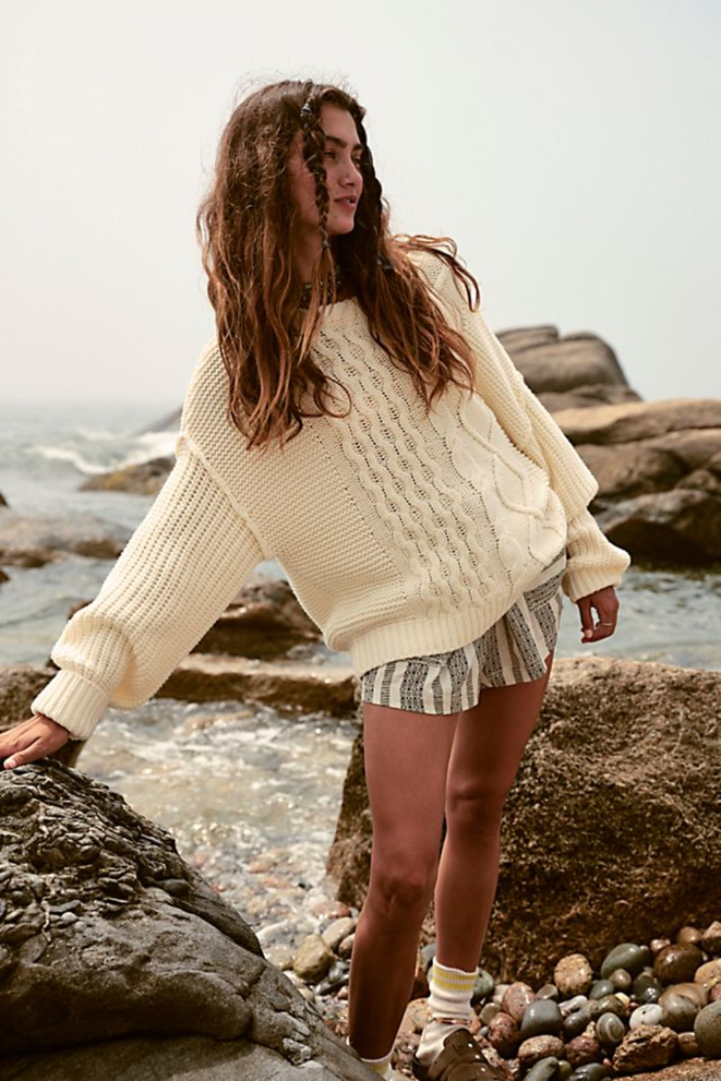 Free People  Dream Cable Crewneck Sweater - Main Image