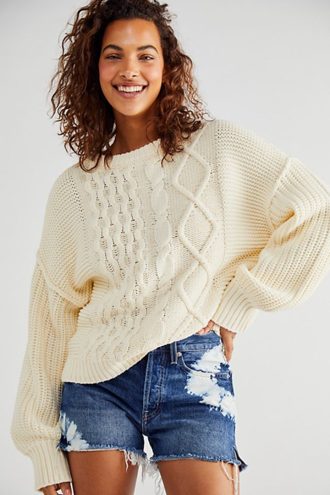Free People  Dream Cable Crewneck Sweater - Back Cropped Image