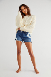 Free People  Dream Cable Crewneck Sweater - Front full body