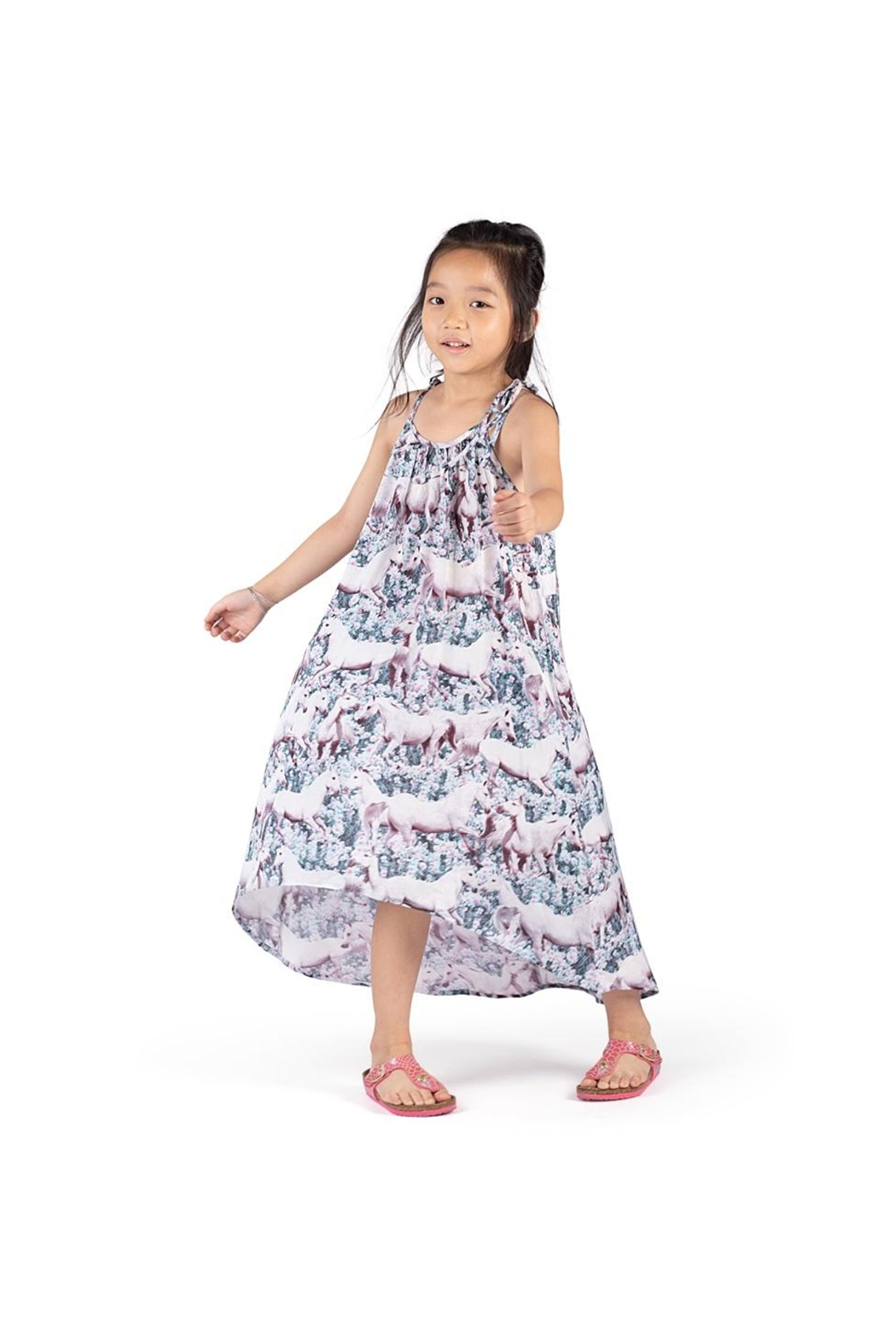 Paper Wings Dream Field Horse Maxi Dress - Side Cropped Image