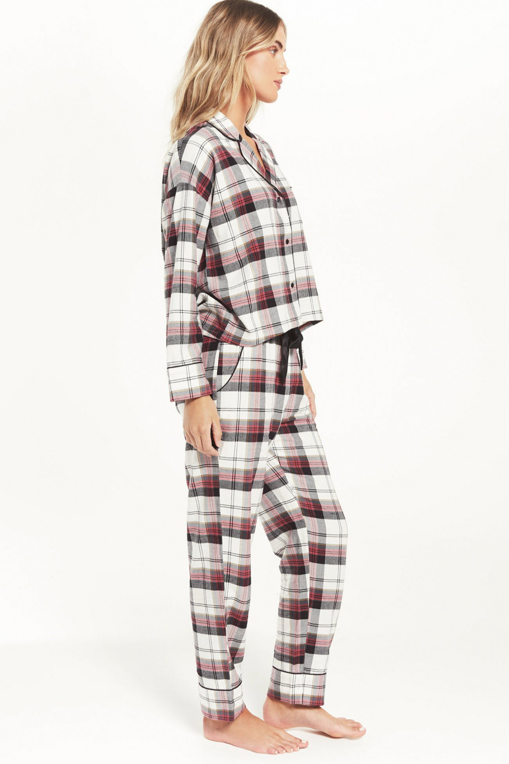 z supply DREAM STATE PLAID PJ SET - Front Full Image