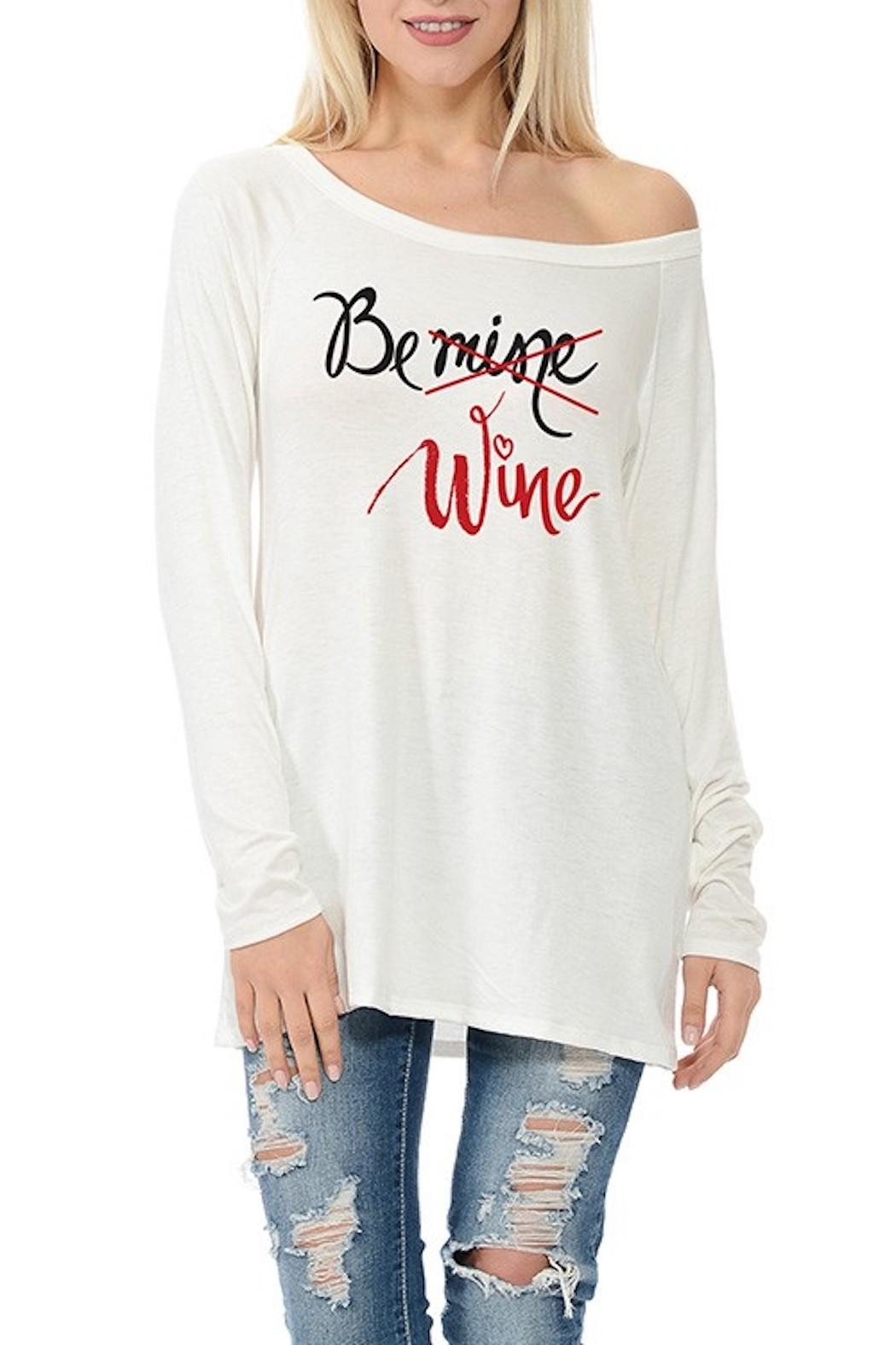 Dream Style Be-Mine-Be-Wine Valentines Top - Front Cropped Image