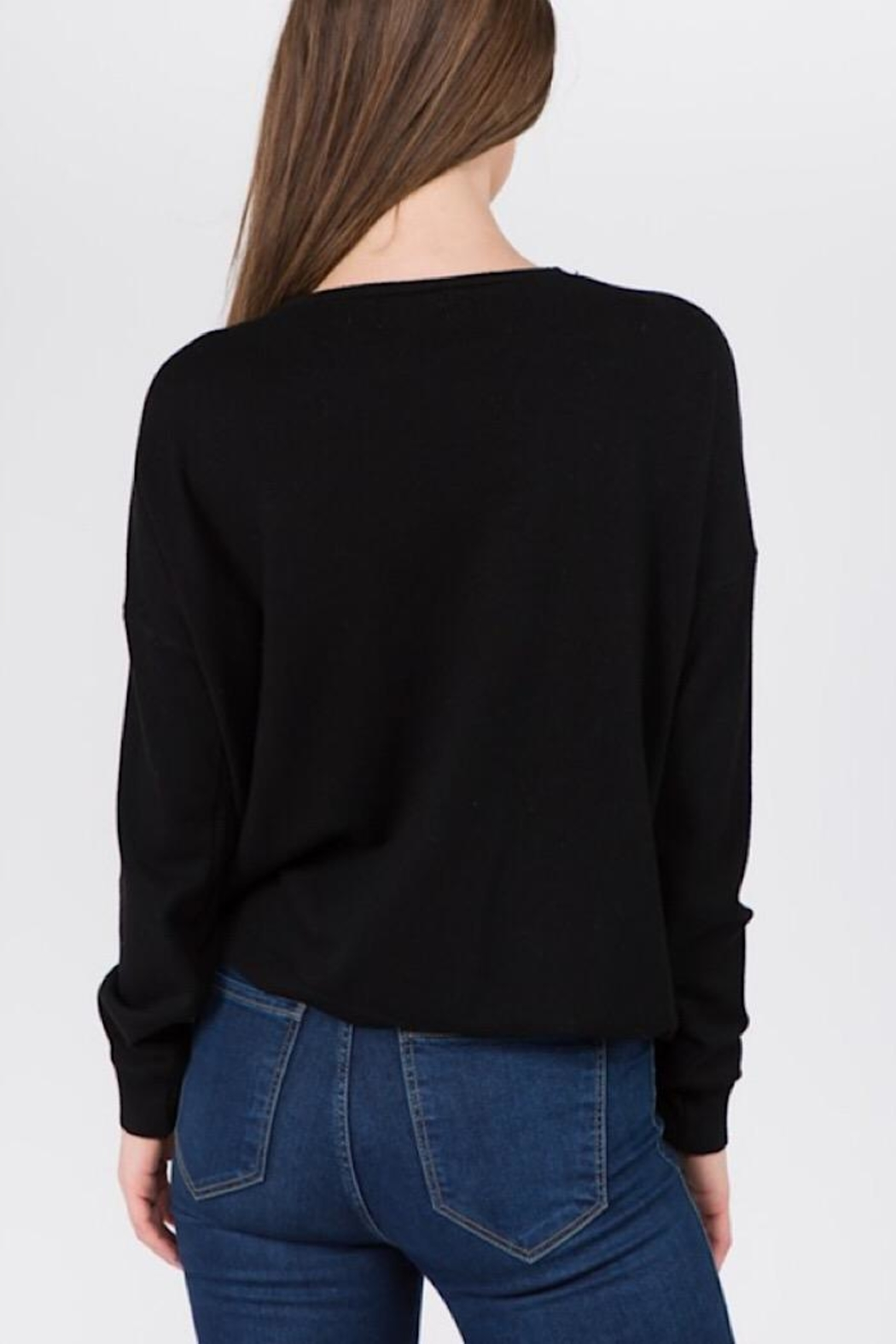 Dreamers Black Ruched Sweater - Front Full Image