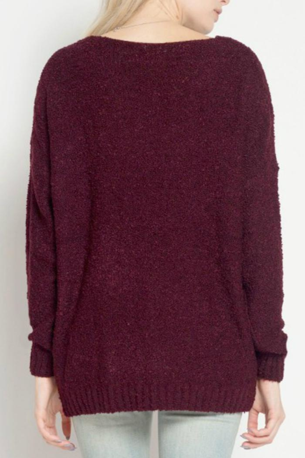 Dreamers Burgundy Marled Sweater - Front Full Image