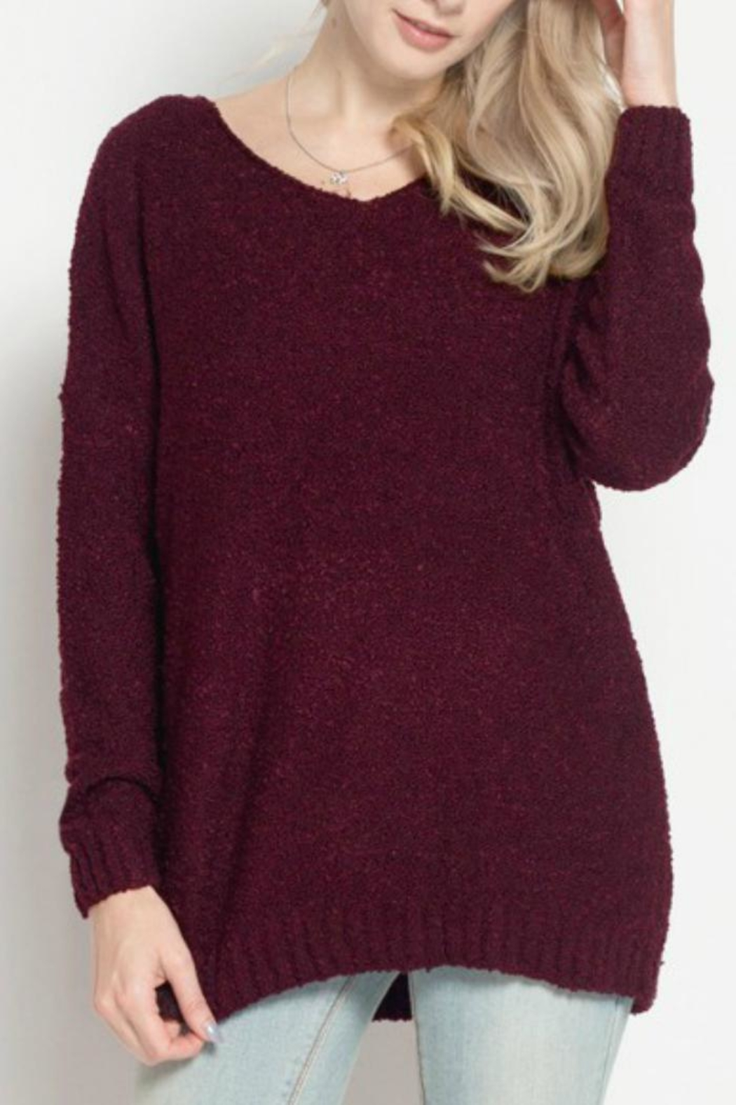 Dreamers Burgundy Marled Sweater - Main Image