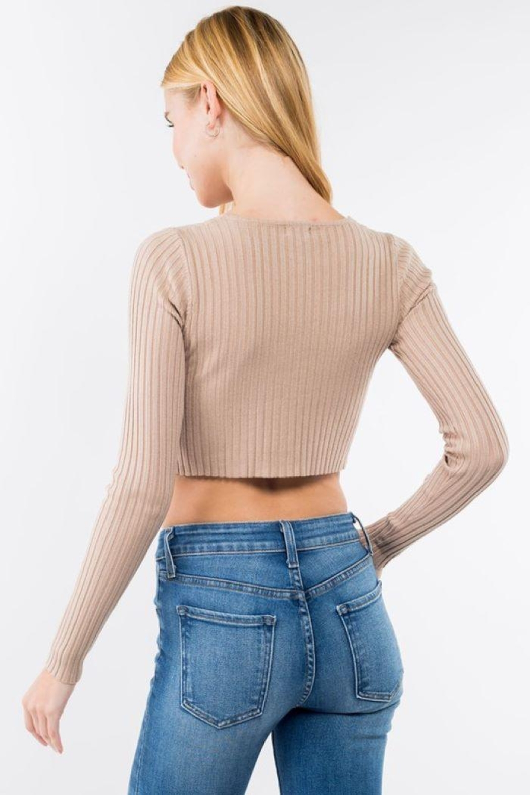 Dreamers Button Up Ribbed Long Sleeve Crop Top - Front Full Image