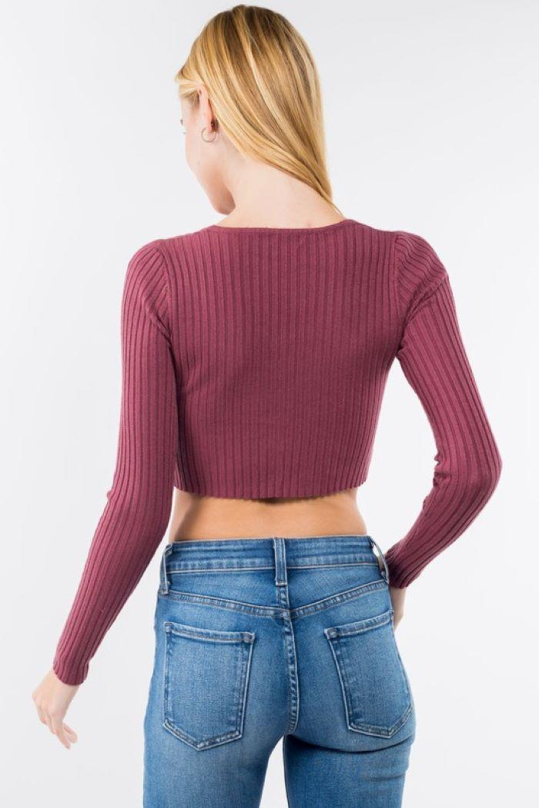 Dreamers Button Up Ribbed Long Sleeve Crop Top - Side Cropped Image