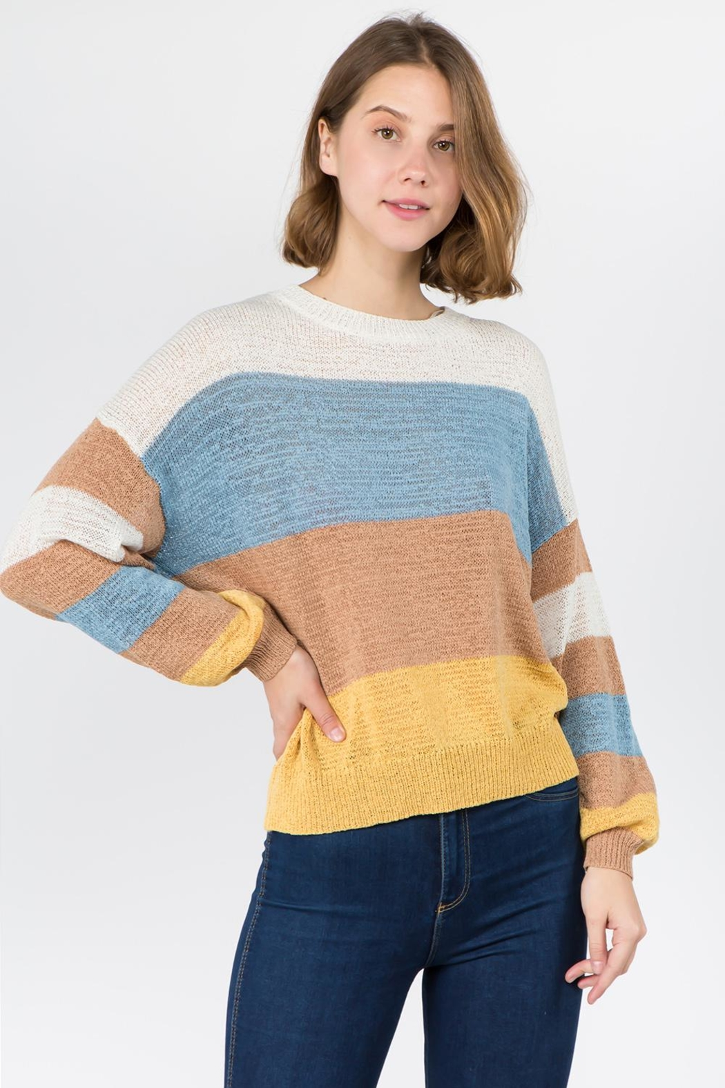 Dreamers Color Blocked Sweater - Front Cropped Image