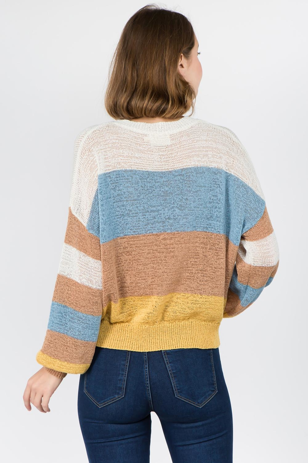 Dreamers Color Blocked Sweater - Front Full Image