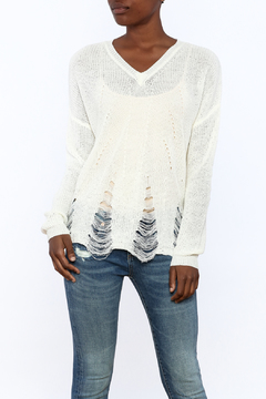 Dreamers Distressed V-Neck Sweater - Product List Image