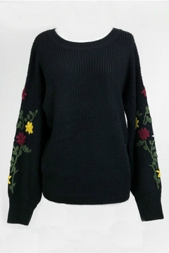 Dreamers Embroidered Black Sweater - Product List Image