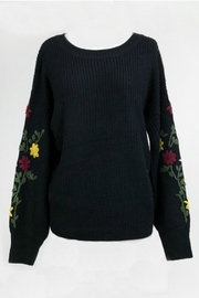 Dreamers Embroidered Black Sweater - Front cropped