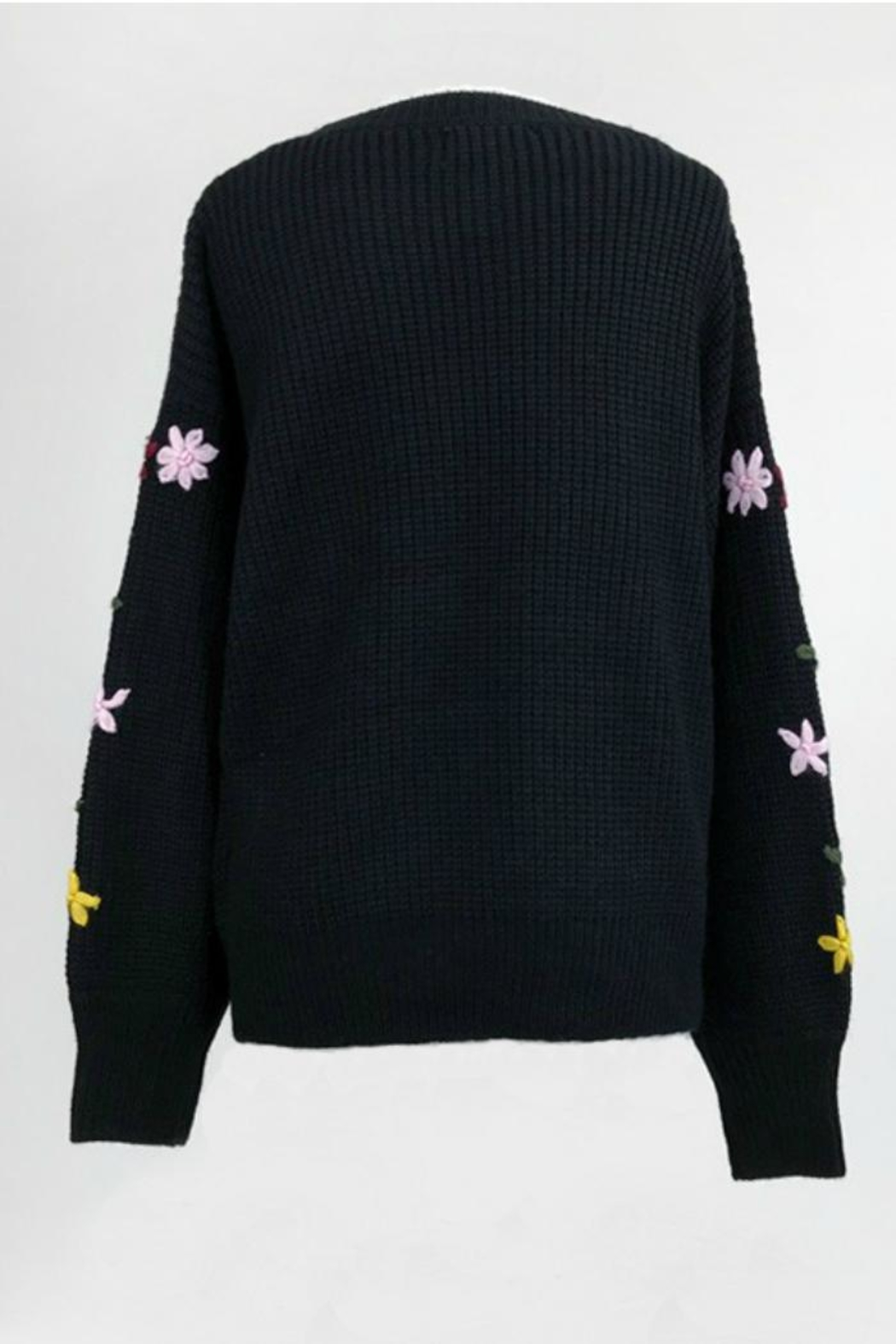 Dreamers Embroidered Black Sweater - Front Full Image