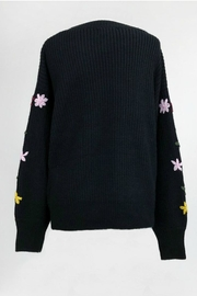 Dreamers Embroidered Black Sweater - Front full body