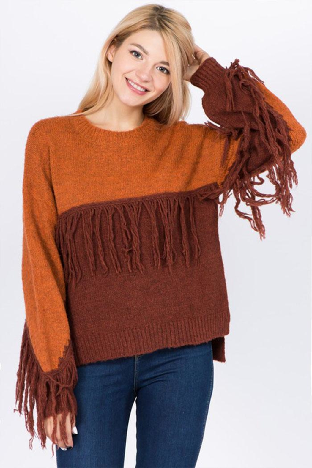 Dreamers Fringe Pullover Sweater - Main Image