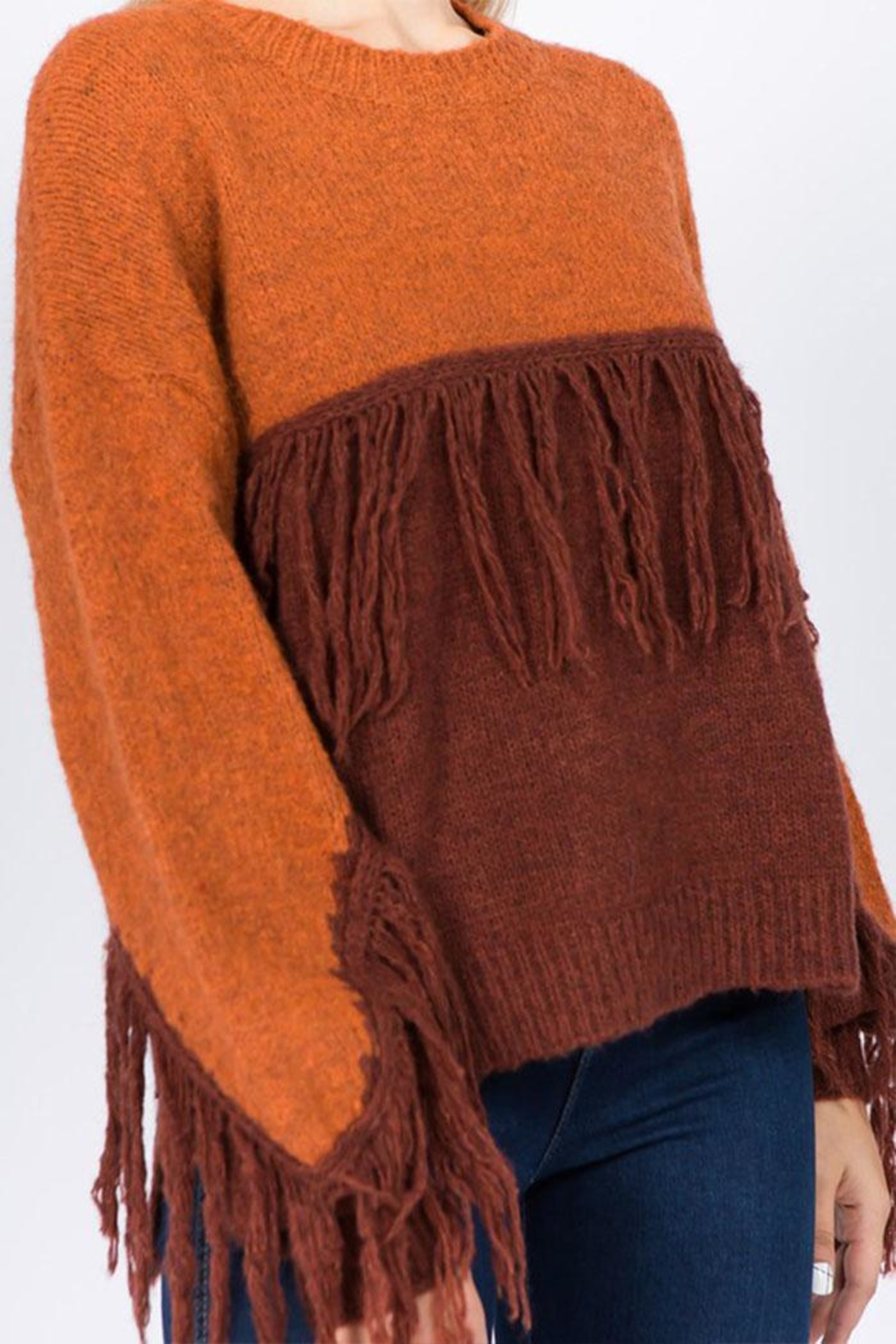 Dreamers Fringe Pullover Sweater - Side Cropped Image