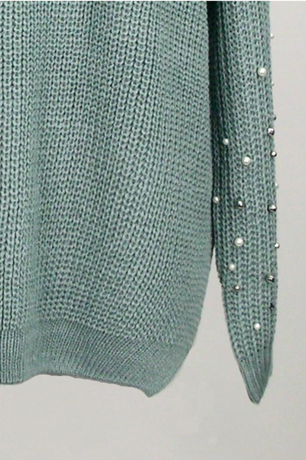 Dreamers Jeweled V Neck Sweater - Side Cropped Image