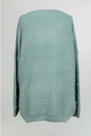 Dreamers Jeweled V Neck Sweater - Front full body