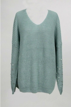 Dreamers Jeweled V Neck Sweater - Product List Image
