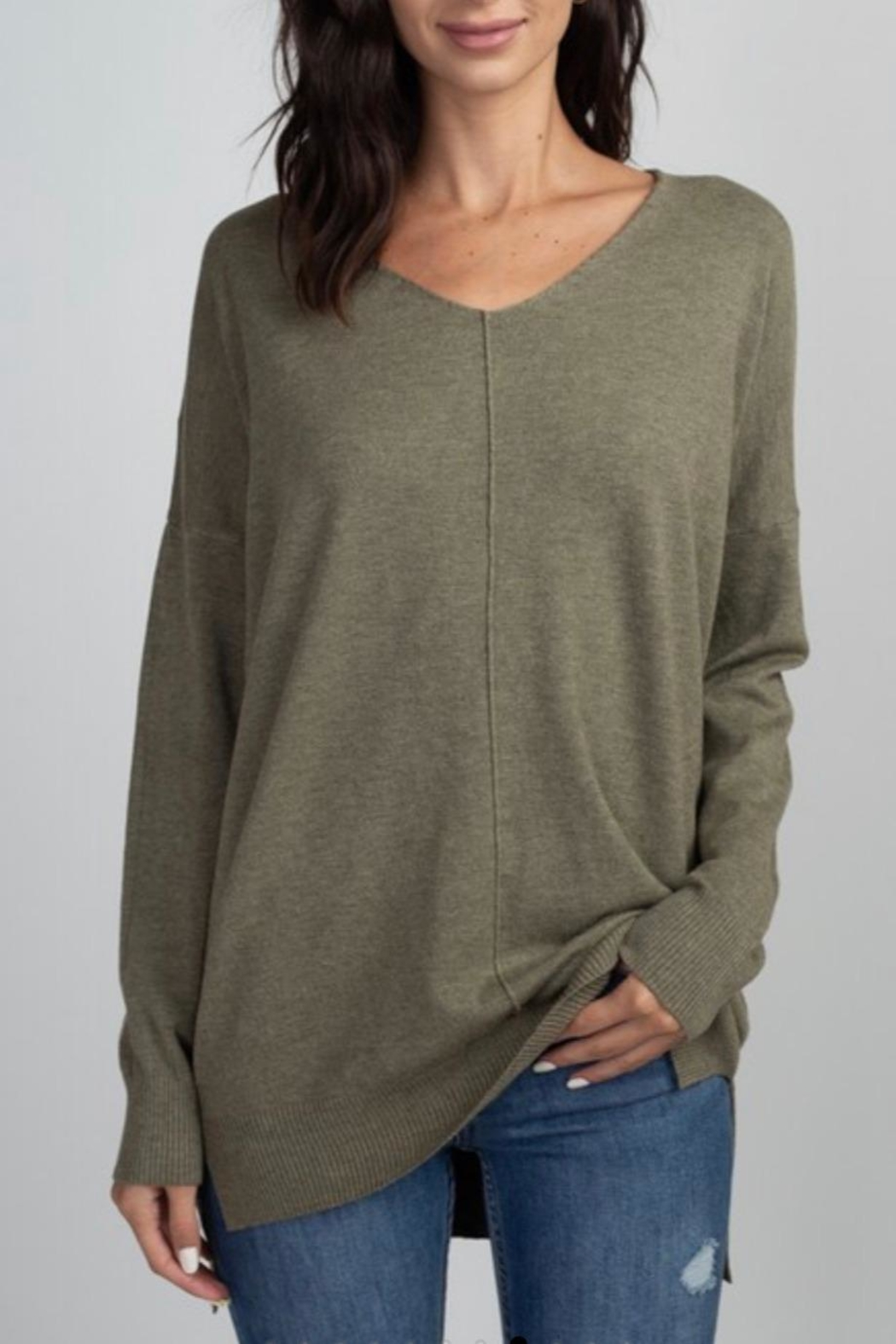 Dreamers Olive Soft Sweater - Main Image