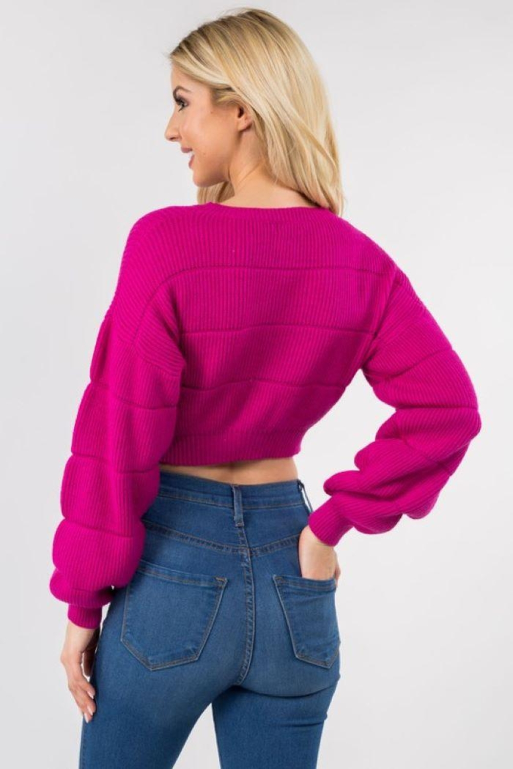 Dreamers Puff Sleeve Crop Pullover - Side Cropped Image