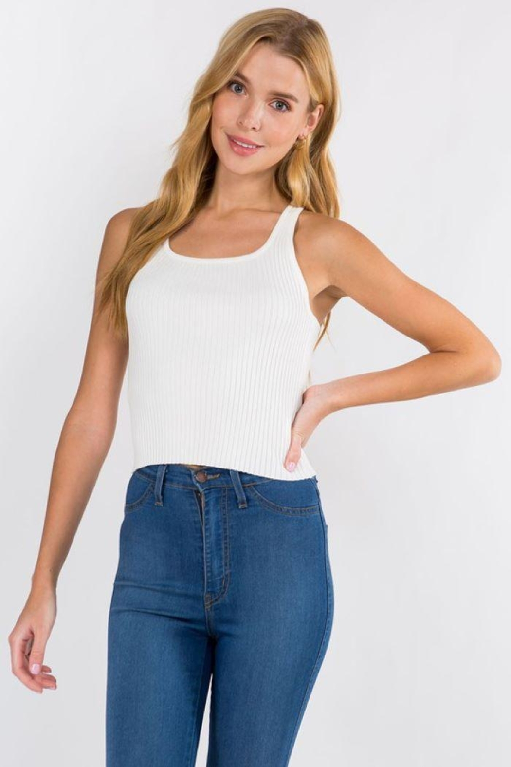 Dreamers Ribbed Tank Top - Front Cropped Image