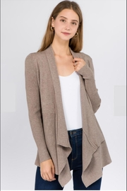 Dreamers Ribbed-Waterfall Cardigan Heather-Mocha - Front cropped