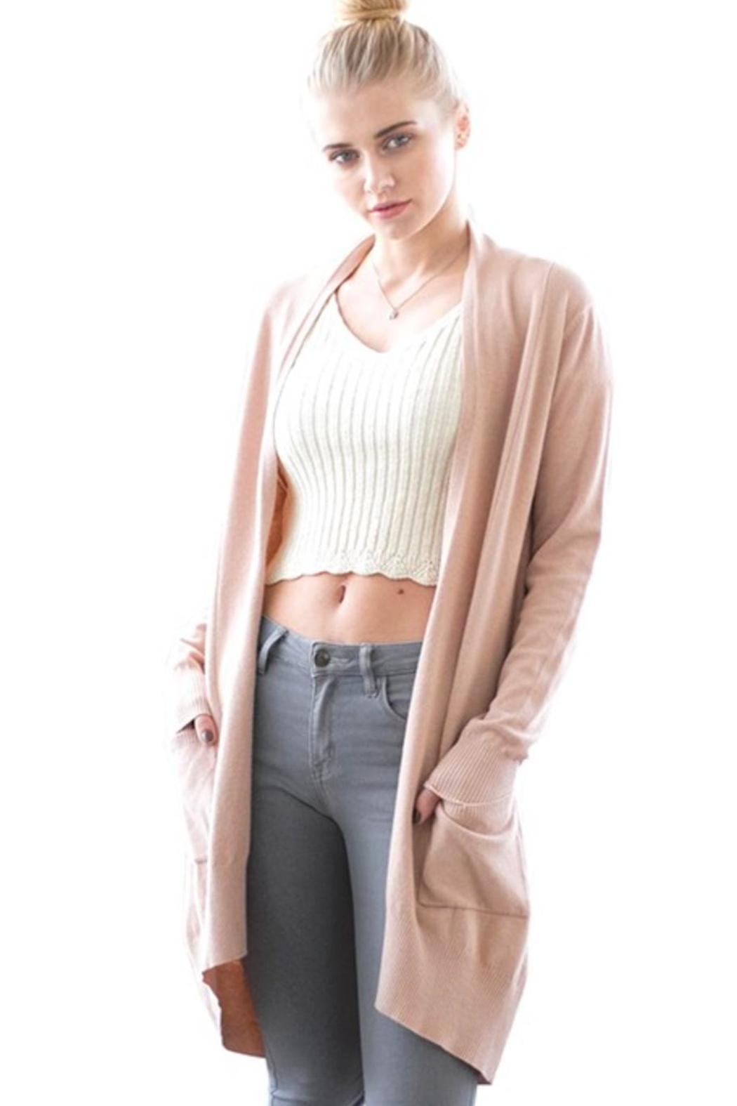 b2aa4839f5dd Dreamers Soft-Pink Open Cardigan from Florida by Apricot Lane St ...
