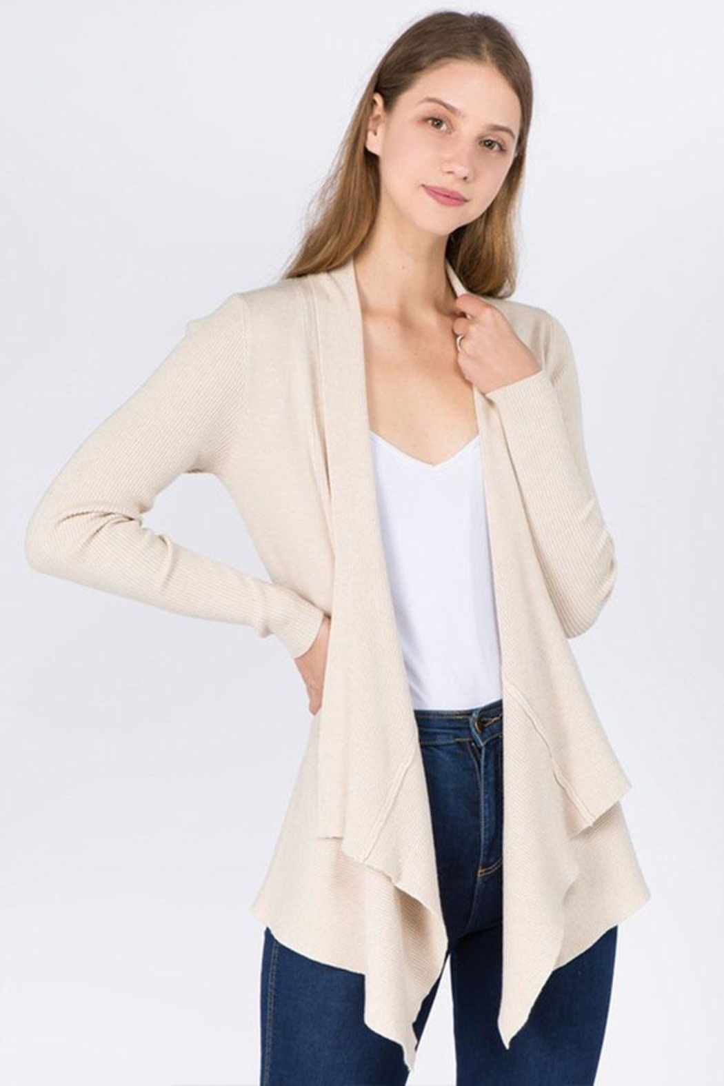 Dreamers Soft Solid Cardigan - Front Cropped Image